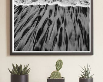 Beach Wall Art Large, Large Beach Wall Art, Large Ocean Art, Sandy beach art, Large Black and White Horizontal Art, Large Horizontal Art