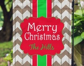 Garden Flag - Christmas Flag - Personalized Garden Flag - Rustic Chevron - Merry Christmas Flag - Personalized Yard Flag - Wedding Gift