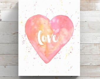 Heart Love Watercolor Canvas Print - Pink Heart Painting - Canvas of Watercolor Love Quote - Original Art by Angela Weber