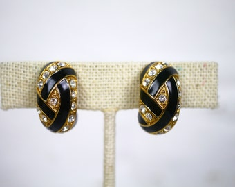 Clip On Earrings Black Enamel Gold and Rhinestone