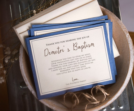 Baptism Thank You Cards Note Christening Gift Cards Custom Stationery Baptism Gift in Dark Blue