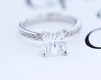 Engagement Ring 2.51 Carat DIAMOND Engagement Ring Round Brilliant Cut 14K White Gold FREE SHIPPING