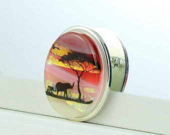 Fused Glass  Brooch - Dichroic Glass Brooch with Elephants at Sunset - Fused Glass Jewellery - Dichroic Jewelry - Fused Glass Jewelry.JBT359