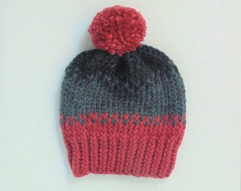 Pink an Grey Cozy Knit Hat