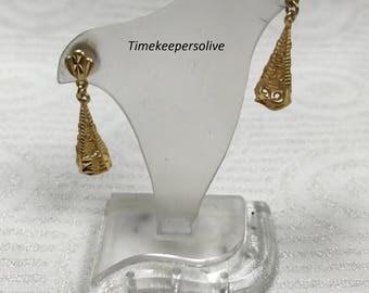 Elegant Vintage Pierced Dangle 21K Yellow Gold Drop Earrings + Gift