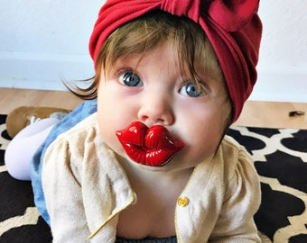 Red baby turban hat with bow - baby hat - newborn hat - infant turban