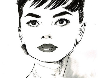 Audrey Hepburn portrait original ink drawing