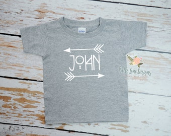 Boy's Tribal Name with Arrow Toddler Gray Tshirt | Toddler T shirt | Vinyl Graphic Toddler Tshirt | 050