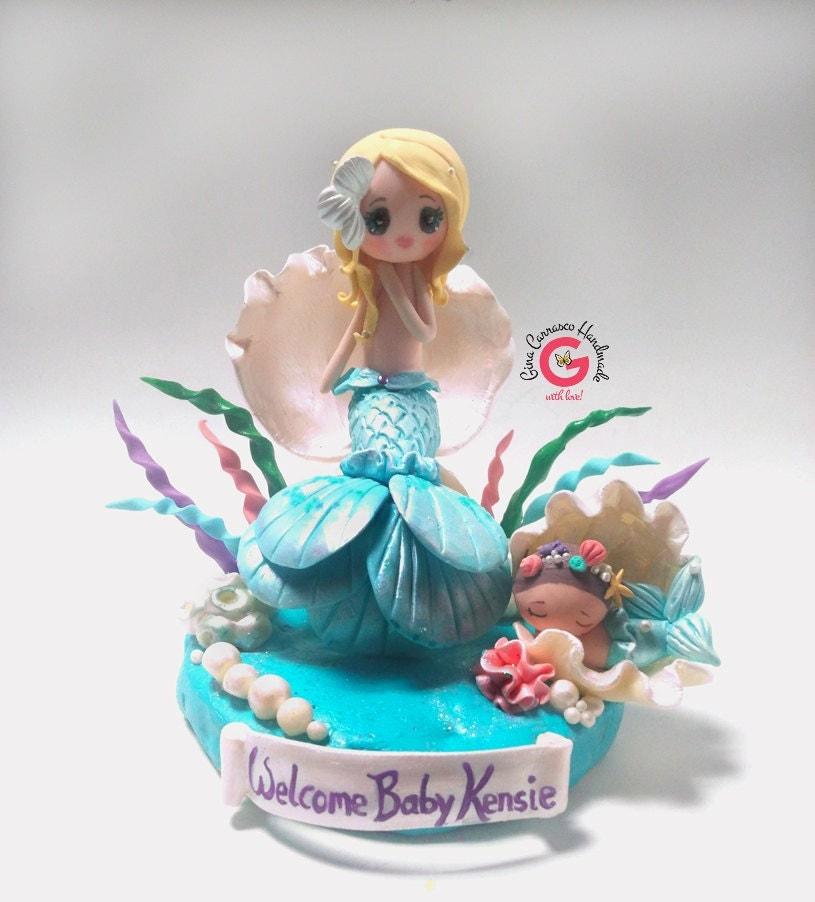 Mermaid Baby Shower Cake Topper Mermaid By GinaCarrascoHandmade