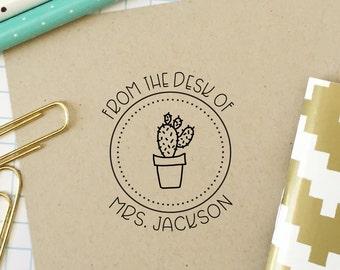 Custom Stamp, Teacher Stamp, From the Desk of, Classroom Stamp, Cactus Stamp, Office Stamp, Teacher Gift, Bookplate, Stationery Stamp