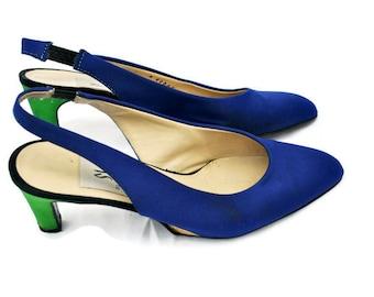 Vintage shoes • womens vintage shoes • womens slingback stilettos • designer shoes • summer stilettos • stilettos size 6