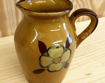 NEVCO Vintage Stoneware Jug Small with Floral Motif Collectible Nevco