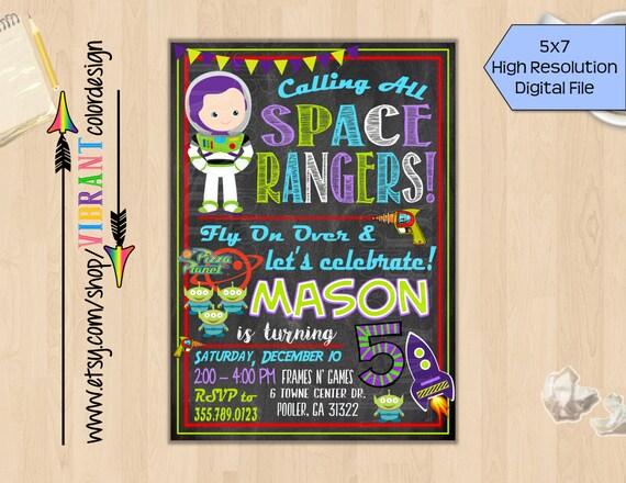 Buzz Lightyear Birthday Invitation Toy Story Party Invitation