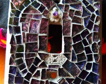 Handcrafted Stained Glass Mosaic Light Switchplate-Purples