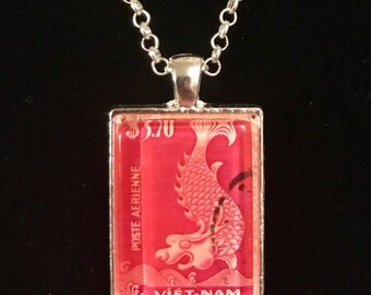 Vietnam Dragon Postage Stamp Necklace | Asian art | Vintage stamp