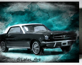 Vintage Retro Style Old Timer 1965 Black Ford Mustang Classic Car Painting Home D Cor Wall