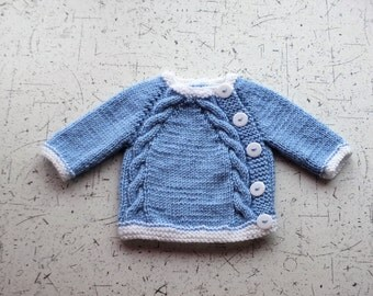 Hand knitted Baby cardigan - Baby boy sweater - Newborn cardigan - Knit baby cardigan - Baby boy clothes - Knit baby clothes - Blue cardigan