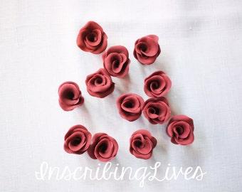burgundy rose buds fondant flowers 12pcs blossoms edible wedding cake decorations birthday bridal shower sweet 16 InscribingLives