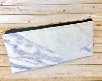 White Marble Pencil Pouch Pen Pouch Pencil Case Pen Case School Accessory Pouch School Supply Bag Small Makeup Bag