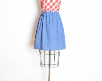 vintage 70s dress, gingham dress, red white gingham, 70s plaid dress, denim dress, cowgirl dress, western dress, 70s clothing, M medium