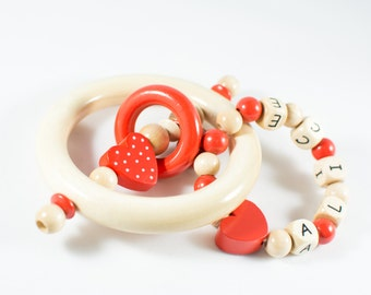 Personalized Baby Teether - Wooden Teether - Wooden Rattle - Wooden Baby Toy - Personalized Baby Toy - Baby Gift - Natural Baby Toy