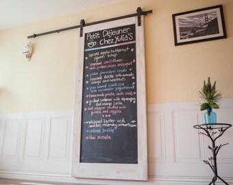 Chalkboard Barn Door; interior design, home decor, unique, rustic, urban, custom furniture