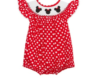 In- stock- Mouse Ears with Bow Smocked Red Romper