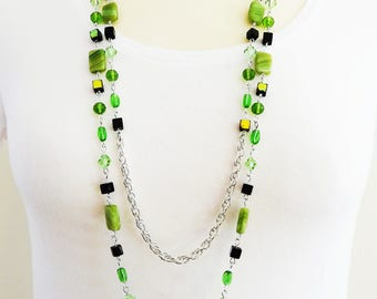 Long Green Beaded Necklace, Long Green Necklace, Beaded Necklace, Green Boho Necklace, Flapper Necklace, Vintage Necklace, Two  Strand