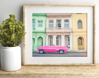 Havana, Cuba | Classic Pink Car Along the Malecón's Colonial Architecture, Fine Art Photography Print