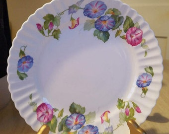 Vintage Side Plate, Dessert Plate, with Pastel Morning Glorys  Embassey Ware Fondeville England Bone China