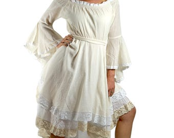 LACE DRESS LS Cream/White - Women's Renaissance Festival Costume, Medieval Gown, Gypsy Dress, Lace Trim, Bell Sleeves, Hi-Low, Steampunk,