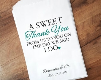 Wedding Favor Bags, Sweet Thank You Personalized Candy Bags, Candy Buffet Bags, Popcorn Bags, Candy bags for Wedding, STY2