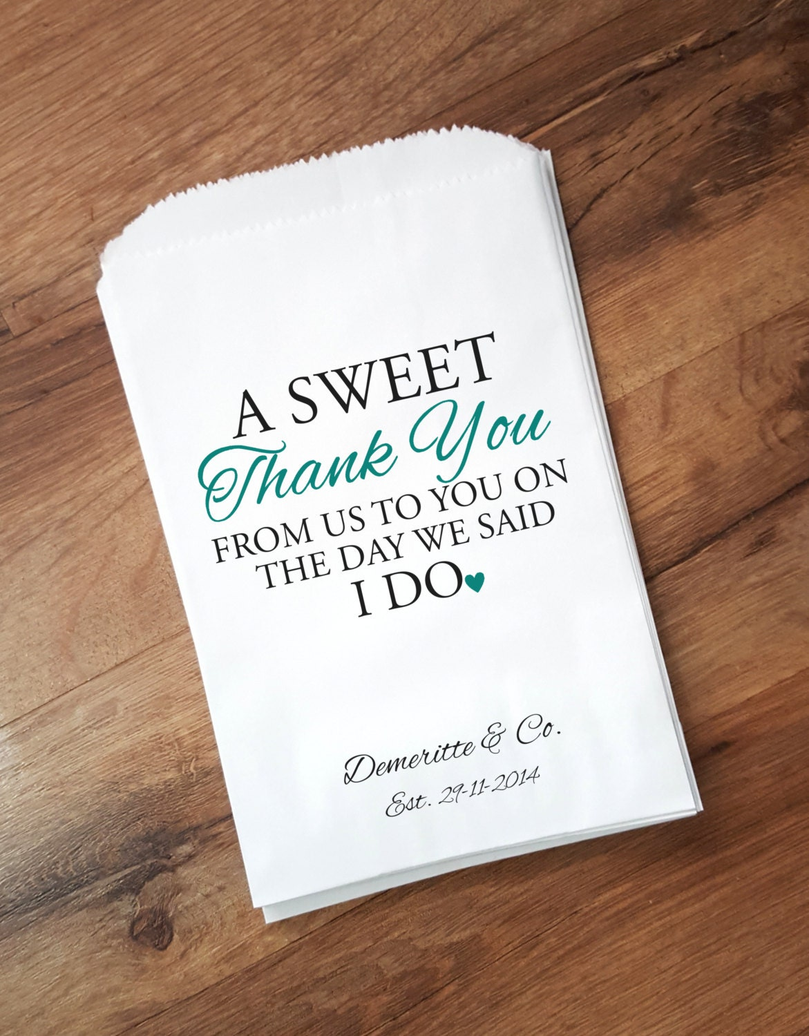 Quotes For Wedding Gift Bags : Wedding Favor Bags Sweet Thank You Personalized Candy Bags
