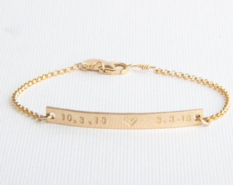 Skinny Bar Bracelet, Personalized, Name Bracelet, Date Gold Filled, Sterling Silver, Rose Gold Filled