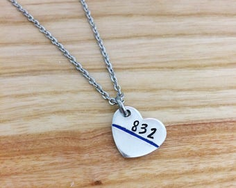 Thin blue line jewelry - police officer gifts - police wife necklace - Badge Number heart - Hand stamped necklace jewelry