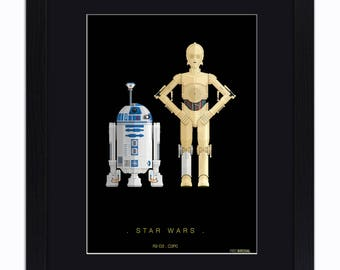 Star Wars - R2-D2 and C3PO - Mounted & Framed Art Print