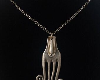Handmade Silver Vintage Fork Necklace