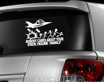 Jet fighter bombing stick family decal, car decal, car accessories, laptop decal, laptop stickers, funny decal, stick figure family, decal