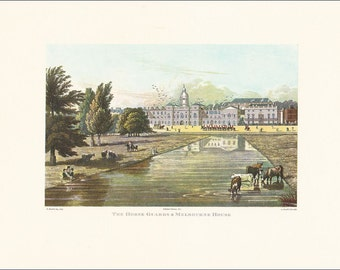 Victorian London Horse Guards and Melbourne House 1821 vintage print coloured engraving 7 x 9.25 inches