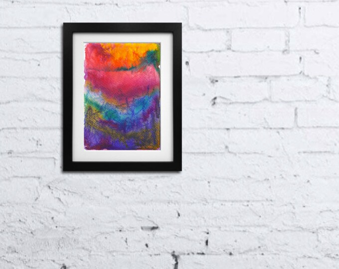 Mixed Media Art-Abstract Watercolor Painting-Small Wall Art-Colorful Painting-Kids Room-Christmas Gift-Home Decor Gift-Watercolor Home Decor