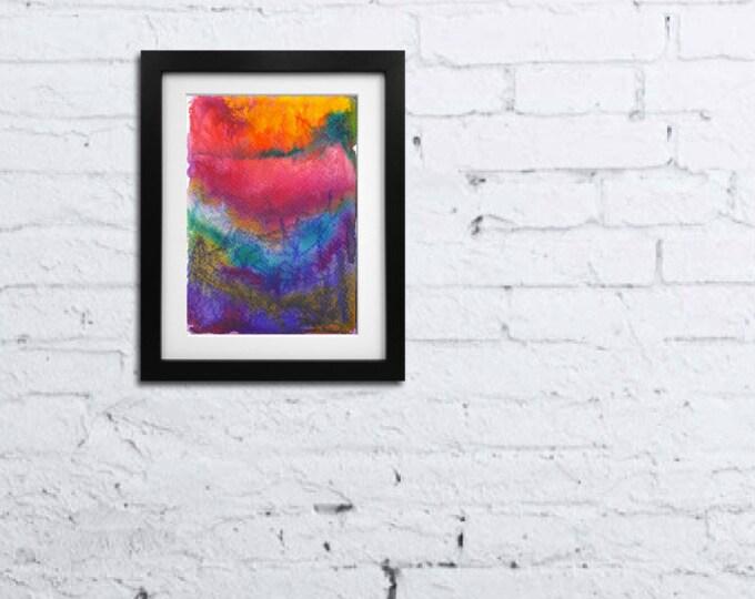 Mixed Media Art-Abstract Watercolor Painting-Small Wall Art-Gift