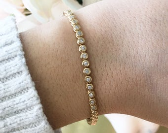 14K Yellow Gold Bezel Set Diamond Tennis Bracelet