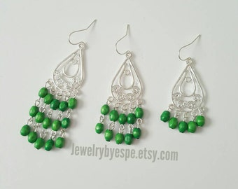 Green Earrings, Silver Dangle Earrings, Long Boho Earrings, Statement Earrings, Wedding Jewelry Bridesmaid Tribal Gypsy