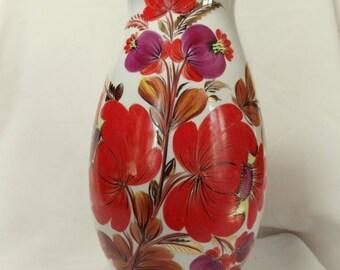 "Hand Painted Kiev Porcelain Vase Made In USSR Soviet Russia Orange Floral 12"""
