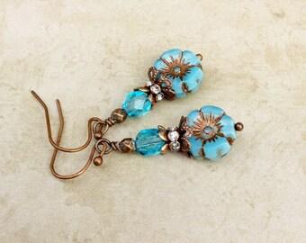 Aqua Earrings, Blue Earrings, Aqua Blue Earrings, Copper Earrings, Flower Earrings, Czech Glass Beads, Gifts for Her, Hibiscus Earrings
