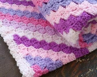 Pink Purple Stripe Baby Blanket, Handmade Crochet, READY TO SHIP