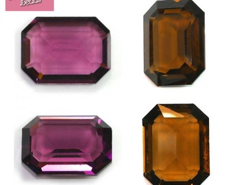 Swarovski Crystal Rectangle 4600 UNFOILED: Amethyst OR Smoked Topaz 20mm x 15mm