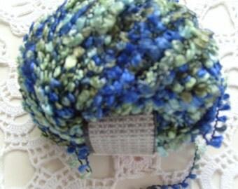 Yarn destash/fiber art supply/Novelty yarn/Fabu yarn/blue green Yarn/boucle/Muench yarns /blue aqua/full skein/ craft Yarn
