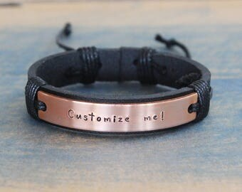 Personalized Mens Bracelet, friendship bracelet, beaded Bracelet, Custom Silvery Bracelet, leather bracelet mens,