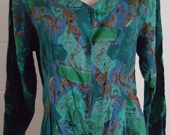 Vintage 80's button front autumn tones top boho indie country chic blouse
